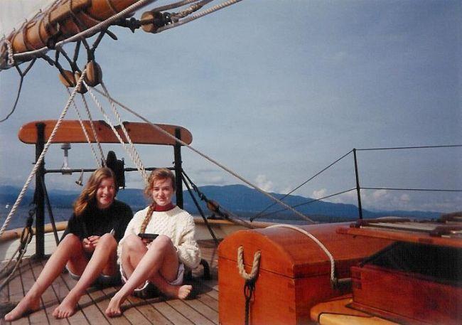 Hayley and Kyla on stern watch