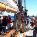 Hoisting the mainsail: