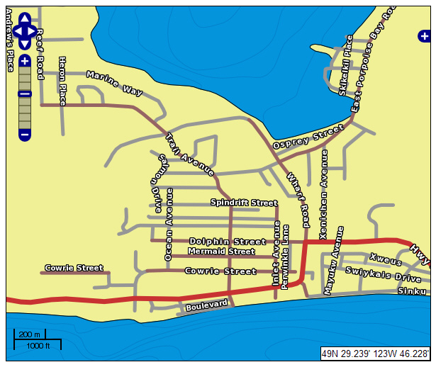 Sechelt Street Map Example