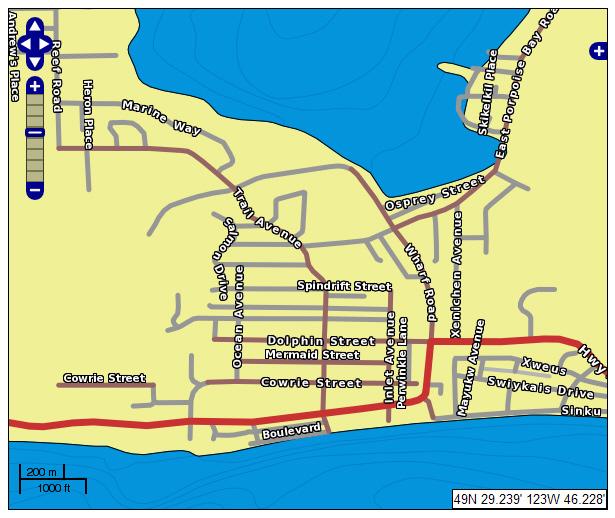 Sechelt Street Map Example